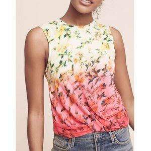 Anthropologie Deletta Floral Twist Front Tank Top